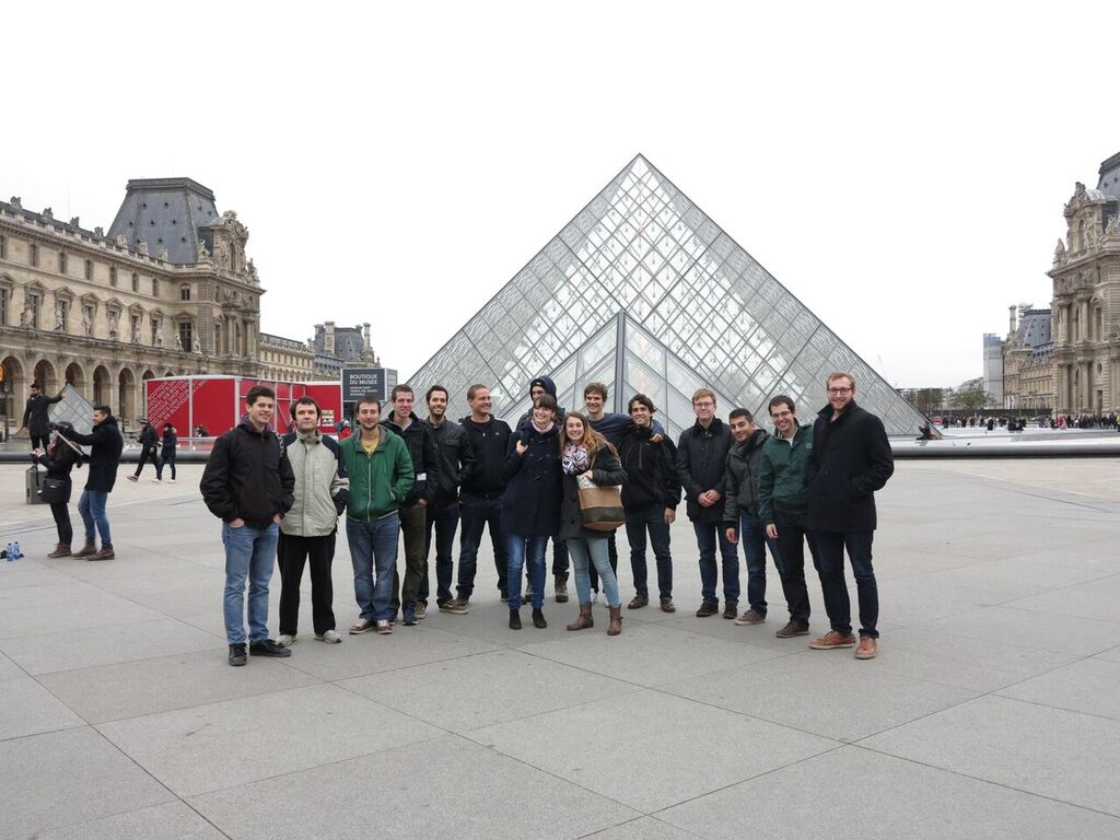 In front of the pyramid at Louvre