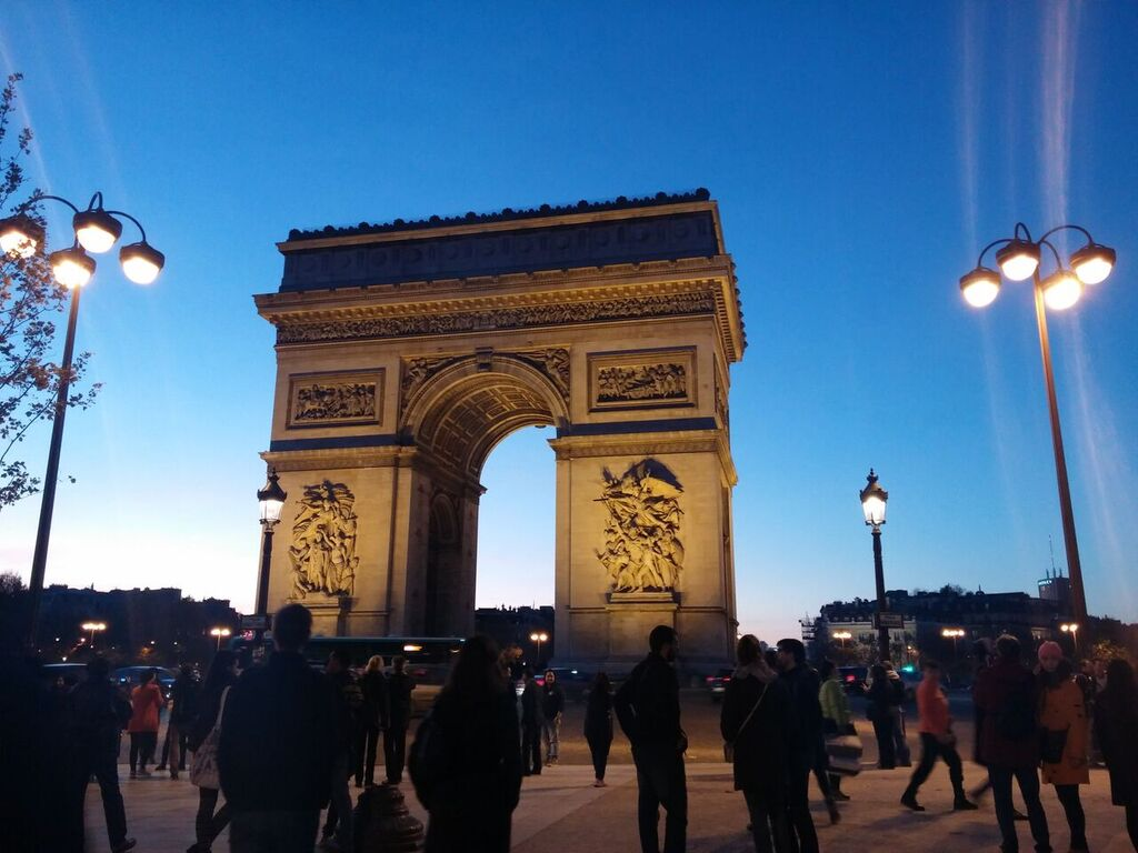 Reaching the Arc de Thriomphe right around sunset after walking down the Champs-Elysées (photo courtesy of Mauro Gabellone)